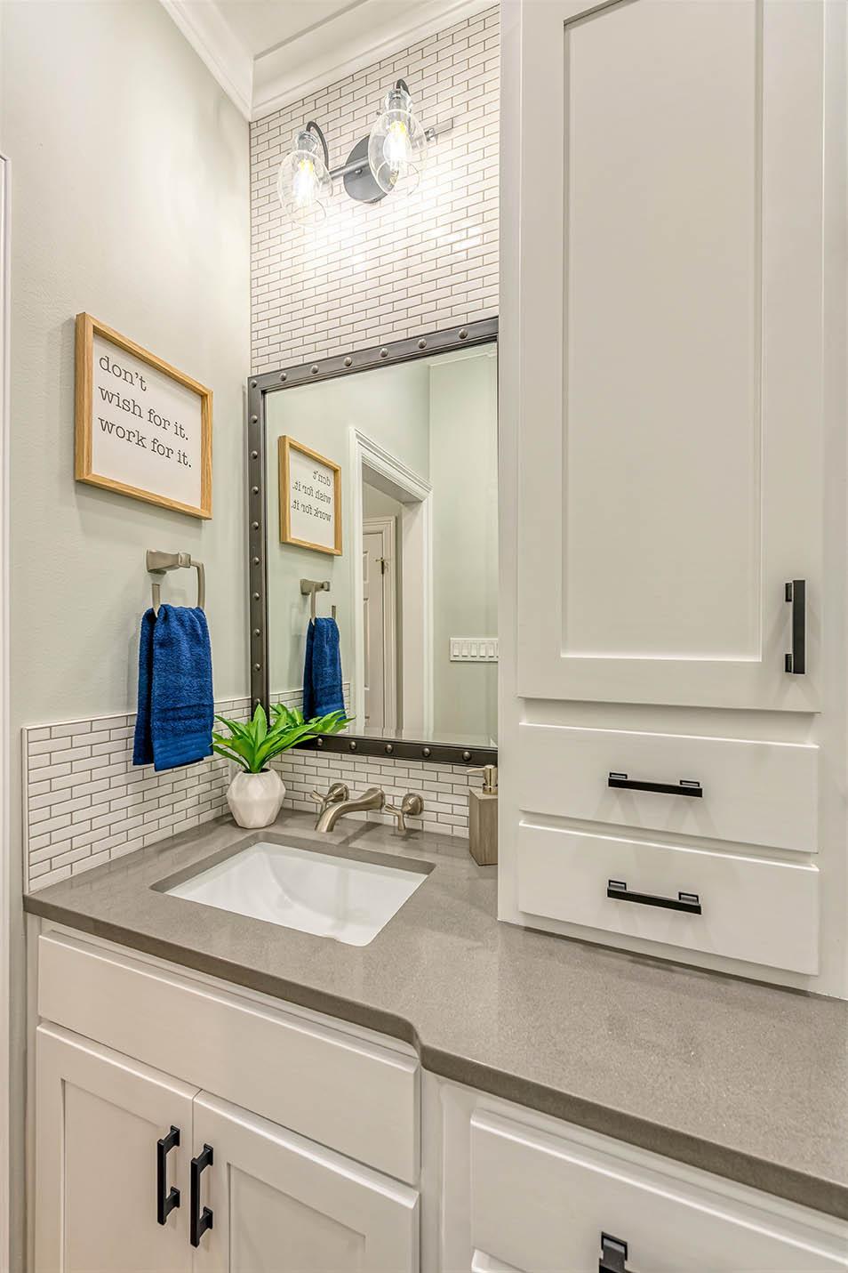 Jack and Jack After Vanity Sink Subway Tile Bathroom Remodel