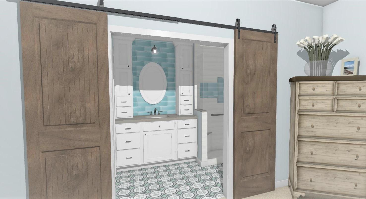 Coastal Bathroom Remodel Rendering